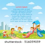 summer background with playing... | Shutterstock .eps vector #516059059