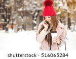 winter girl fun | Shutterstock . vector #516065284