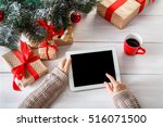 christmas online shopping top... | Shutterstock . vector #516071500