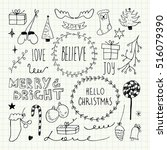 christmas and new year doodles...   Shutterstock .eps vector #516079390