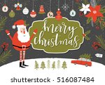 christmas greeting card with... | Shutterstock .eps vector #516087484
