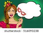 pop art face. young sexy woman... | Shutterstock .eps vector #516093238