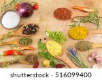 different spices in wooden... | Shutterstock . vector #516099400
