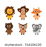 set of cute animals | Shutterstock .eps vector #516106120