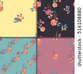 seamless vintage wildflowers...   Shutterstock .eps vector #516108880