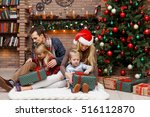 christmas photo family with... | Shutterstock . vector #516112870