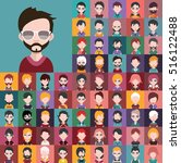 set of people icons in flat... | Shutterstock .eps vector #516122488
