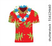vector illustration hawaiian... | Shutterstock .eps vector #516124660