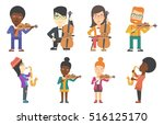 young smiling musician playing... | Shutterstock .eps vector #516125170