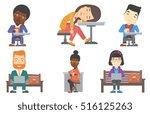 businessman working outdoor.... | Shutterstock .eps vector #516125263