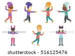happy people playing in...   Shutterstock .eps vector #516125476