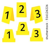 Vector illustration set of three yellow marker of crime scene with numbers 1,2,3. Evidence marker. - stock vector