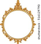 round photo frame  metal gold ... | Shutterstock .eps vector #516129790