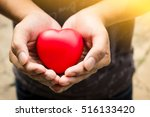 Man Hands  Holding Red Heart ...