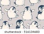 monochrome seamless pattern... | Shutterstock .eps vector #516134683