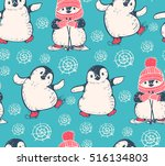 seamless pattern with cute... | Shutterstock .eps vector #516134803