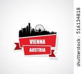 vienna skyline ribbon banner  ... | Shutterstock .eps vector #516134818