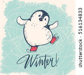 winter illustration with funny... | Shutterstock .eps vector #516134833