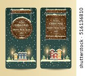 christmas banners with... | Shutterstock .eps vector #516136810