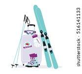 skiing equipment. skis  sticks  ... | Shutterstock .eps vector #516141133
