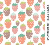 simple strawberry seamless... | Shutterstock .eps vector #516143266