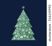 snowflake pine tree. christmas...   Shutterstock .eps vector #516145993