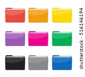 colorful folder icon set vector | Shutterstock .eps vector #516146194