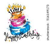 cake ans happy birthday  ... | Shutterstock .eps vector #516149173