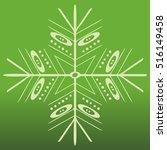 vector snowflake on green... | Shutterstock .eps vector #516149458