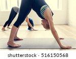 yoga practice exercise class... | Shutterstock . vector #516150568