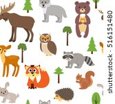 seamless pattern with cute... | Shutterstock .eps vector #516151480
