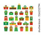 set of different gift boxes.... | Shutterstock .eps vector #516152794