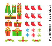 christmas icons set. gift boxes ... | Shutterstock .eps vector #516152824