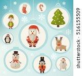 christmas characters   santa... | Shutterstock .eps vector #516155509