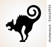 angry black witch cat. cat... | Shutterstock .eps vector #516163924