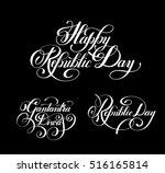 happy republic day handwritten...   Shutterstock . vector #516165814