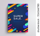 Vector printed cover template with abstract colorful shapes. Trendy neon color lines and hexagons in a modern material design style. Geometric lines on a dark background. | Shutterstock vector #516166780