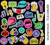 colorful fun set of music... | Shutterstock .eps vector #516168688