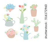 cute plants  cactus and flowers ... | Shutterstock .eps vector #516172960