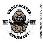 old iron diving helmet. emblem  ... | Shutterstock .eps vector #516177220