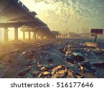ruins of a city. apocalyptic... | Shutterstock . vector #516177646