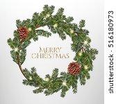 christmas wreath on a dark... | Shutterstock .eps vector #516180973