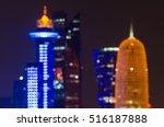 doha skyline blurred abstract... | Shutterstock . vector #516187888
