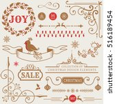 set of christmas and new year... | Shutterstock .eps vector #516189454