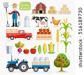 set of farmer element. farmer... | Shutterstock .eps vector #516189730