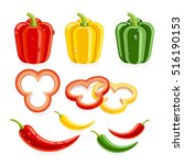 bell peppers and chilli. vector ... | Shutterstock .eps vector #516190153