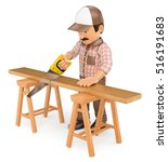 3d working people illustration. Carpenter cutting a wooden board with a saw. Isolated white background. - stock photo