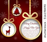 golden christmas ball cut from... | Shutterstock .eps vector #516198490