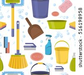 cleaning tools washing... | Shutterstock .eps vector #516198958