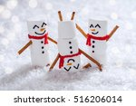 happy funny marshmallow snowmen ... | Shutterstock . vector #516206014